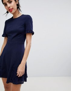 Read more about Asos lace insert mini skater dress - navy