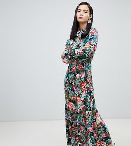 Read more about Monki floral print high neck maxi dress in blue