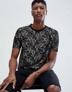 Read more about Asos relaxed longline t-shirt in gold lace - gold