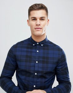 Read more about Asos design skinny poplin check shirt in blue - navy