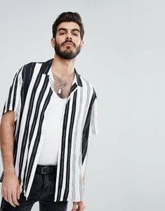 Read more about Asos oversized viscose stripe shirt with revere collar - white