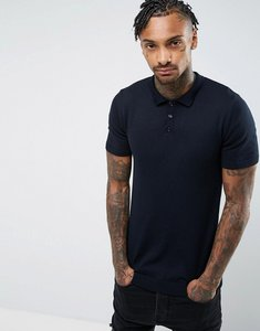 Read more about Asos muscle fit knitted polo shirt in navy - navy