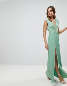 Read more about Asos premium lace insert pleated maxi dress - mint