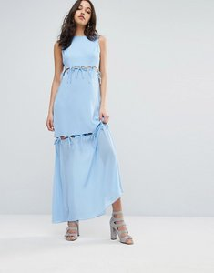 Read more about Lost ink maxi dress with tie up bow details - light blue