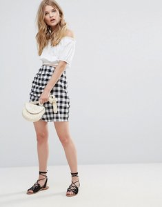Read more about Influence gingham skirt with ruffle - mono