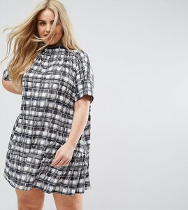 Read more about Asos curve smock dress in mono check - multi