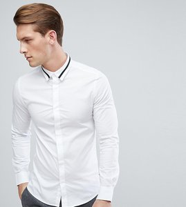 Read more about Only sons skinny smart shirt with collar detail - white