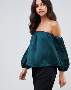 Read more about Asos satin off shoulder top with balloon sleeve - forest green