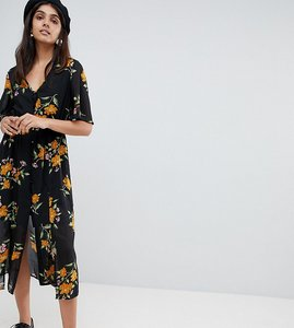 Read more about Influence tall button front kimono sleeve midi dress in floral print - black