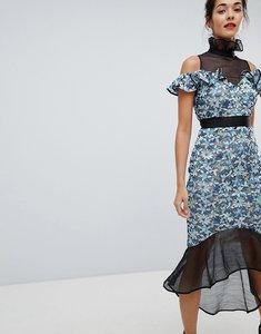 Read more about Elliatt high neck lace midi dress - blue
