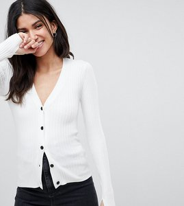 Read more about Asos design tall cardigan in fine knit rib with buttons - cream