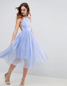 Read more about Asos premium scuba pinny midi tulle dress - powder blue