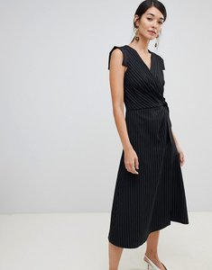 Read more about Closet london wrap front tie side pencil dress in stripe - black stripe