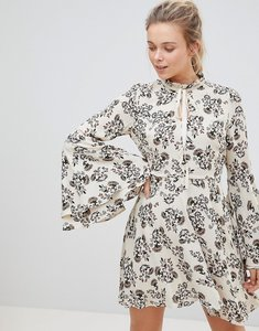 Read more about Glamorous high neck floral print dress with flare sleeve - cream viscose floral
