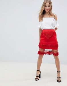 Read more about Asos design premium fringe mini skirt - red