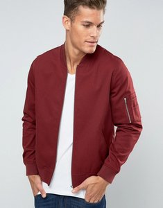Read more about Asos bomber jacket in burgundy with ma1 pocket - burgundy