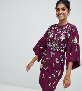 Read more about Asos tall kimono mini dress with embroidery - plum
