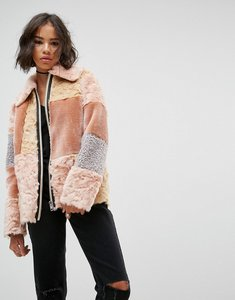 Read more about Asos jacket in patchwork faux fur - multi