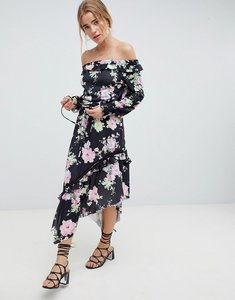 Read more about Asos design off shoulder tea dress with shirred cuffs in floral print - floral print