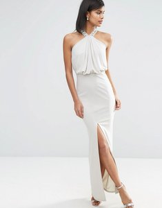 Read more about Asos halterneck embellished drape front maxi dress - silver