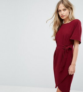 Read more about Closet london tie front dress with kimono sleeve - berry