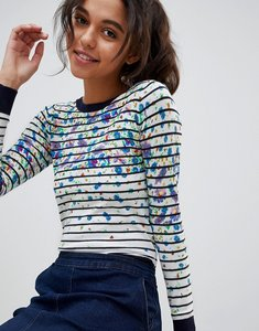 Read more about Oasis floral stripe print contrast cuff jumper - multi