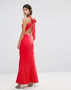 Read more about Club l bow back detail maxi dress - red