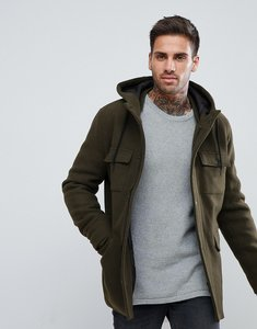 Read more about Bershka wool jacket with hood and double pocket in khaki - khaki
