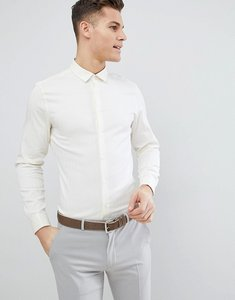 Read more about Asos design wedding slim herringbone shirt with double cuff in pale yellow - yellow