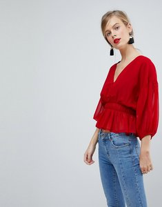 Read more about Asos design sheer waisted poets sleeve blouse - red