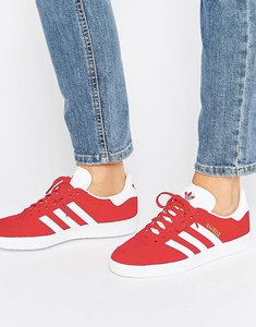 Read more about Adidas originals red suede gazelle trainers - red