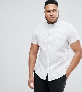 Read more about Asos plus stretch slim oxford stripe shirt with grandad collar - blue white