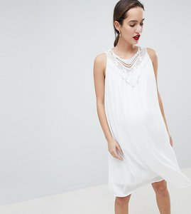 Read more about Mamalicous sleeveless lace insert woven dress - white