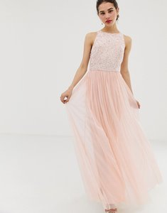 Read more about Angel eye tulle maxi dress with embellished detail