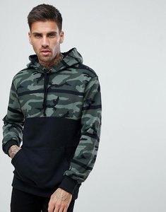 Read more about Pull bear hoodie with camo colour block in khaki - khaki