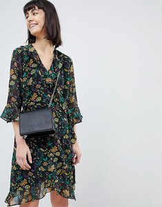 Read more about Selected floral wrap dress with ruffles - multi