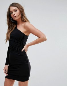 Read more about Club l one shoulder slinky mini dress - black