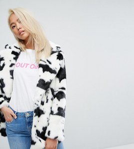Read more about Jakke mid length faux fur coat in cow print - cow multi