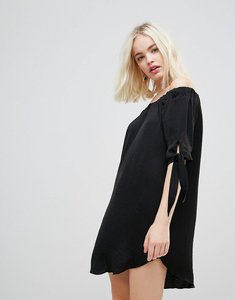 Read more about Hazel off shoulder shift dress - black