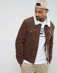 Read more about Asos cord jacket with borg collar in brown - brown