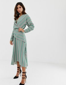 Read more about Asos design wrap front maxi dress in wide stripe