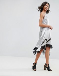 Read more about To be adored ada silk asymmetric slip dress with lace hem - silver