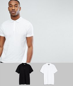 Read more about Asos design jersey polo 2 pack save - black white