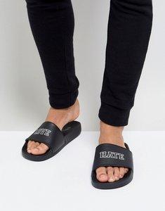 Read more about Brave soul love hate slider flip flops - black