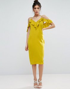 Read more about Asos satin ruffle cami cold shoulder midi dress - chartreuse
