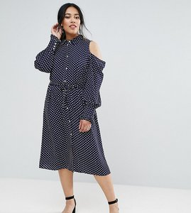 Read more about Unique 21 hero plus cold shoulder swing dress in spot - navy