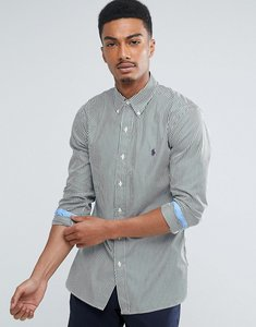 Read more about Polo ralph lauren slim fit stripe shirt poplin buttondown in green - green white stripe