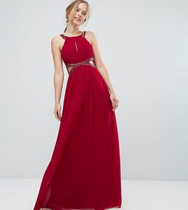 Read more about Little mistress chiffon maxi dress with cut outs and embellishment - berry