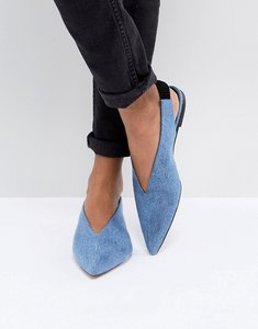 Read more about Gestuz denim flat slingback shoe - azul blue