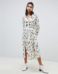 Read more about Asos design pleated maxi dress with long sleeves and collar in contemporary print - multi